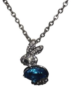 Crystal Encrusted 3D Faux Aquamarine Silver Bunny Pendant with Chain / Necklace NEW