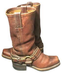 Frye 77250 Belted Harness Motorcycle 6 Size 6 Brown Boots