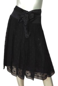 Charles Nolan New With Tag Pleated Chiffon Party Skirt black