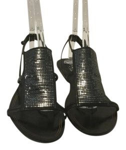 Cole Haan Straps Double Ankle Strap Gladiator Black leather and metal mesh flat Sandals