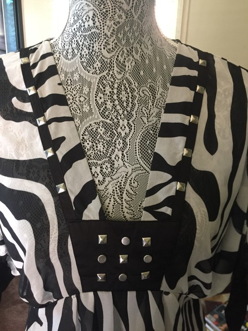Lux Studded Top BLACK AND WHITE ZEBRA