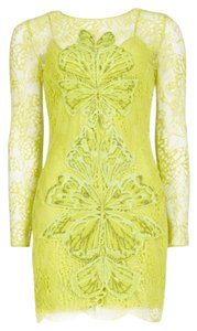Matthew Williamson Lace Embroidered Yellow Lime Party Dress