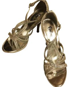 Fioni Glitter Sequin Glam Strappy Silver Pumps