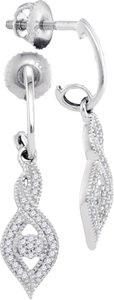 Other BrianG 10k WHITE GOLD 0.15CTW DIAMOND MICRO PAVE FASHION EARRINGS