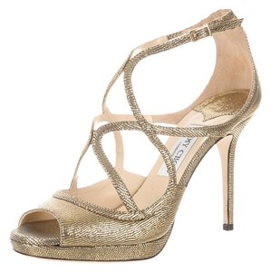 Jimmy Choo Dollis Gold-Tone Pumps