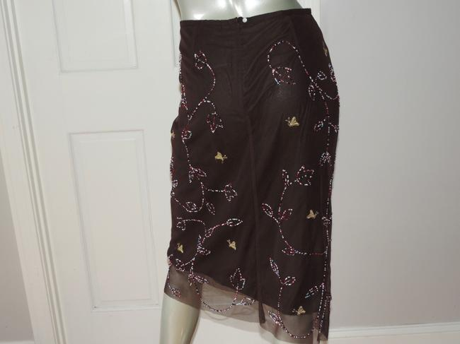 French Connection Beading Applique Mesh Skirt brown