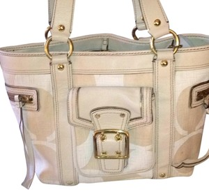 Coach Tote in Cream & White