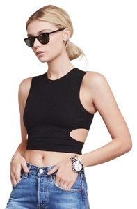 Reformation Crop Cut-out Night Out Top Black