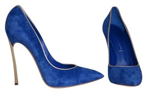 Casadei Blade Metal Blade Heel Gold Metal Heel Blue Pumps