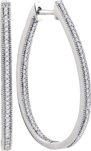 Other BrianG 10k WHITE GOLD 0.50 CTTW DIAMOND MICRO PAVE FASHION HOOP EARRINGS