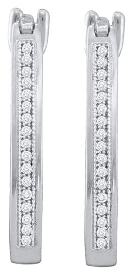 Other BrianG 10k WHITE GOLD 0.10 CTTW DIAMOND MICRO PAVE FASHION HOOP EARRINGS