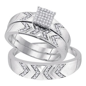 10k White Gold 0.25 Cttw Diamond Miro-pave His & Hers Matching Wedding Band