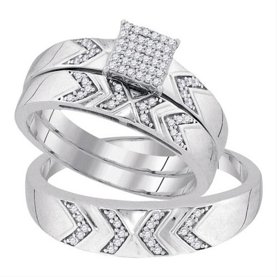 White Gold | Diamond 10k 0.25 Cttw Miro-pave His Hers Matching Band Engagement Rings
