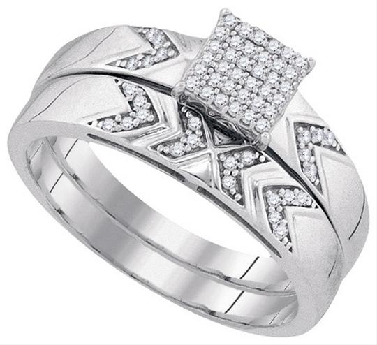 White Gold | Diamond 10k 0.25 Cttw Miro-pave His Hers Matching Band Engagement Ring