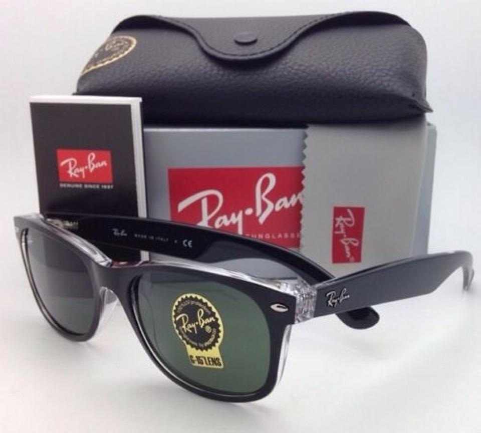 38f09449047 Ray-Ban Rb 2132 6052 58-18 New Wayfarer Black On Clear W Green Lenses Frame  W Green Sunglasses - Tradesy