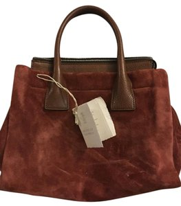 Brunello Cucinelli Suede Leather Tote in Rouge