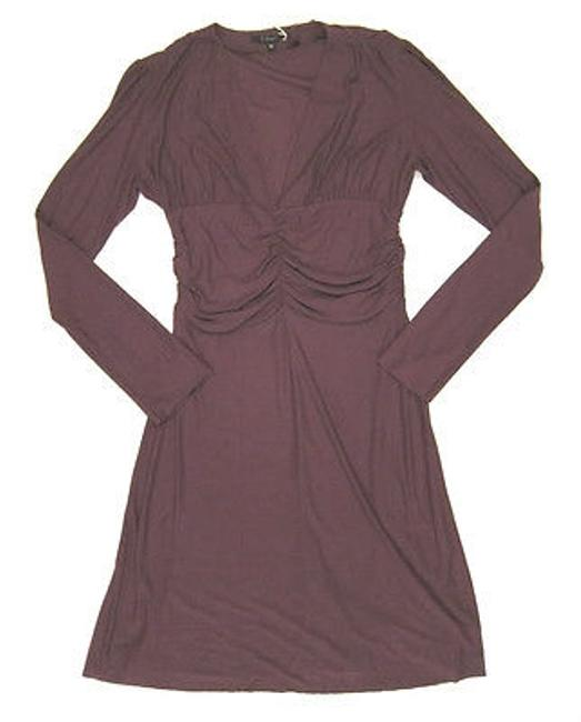 Preload https://img-static.tradesy.com/item/16451482/t-bags-long-sleeve-v-neck-dress-with-a-bunched-waist-in-wine-bordeaux-0-0-650-650.jpg