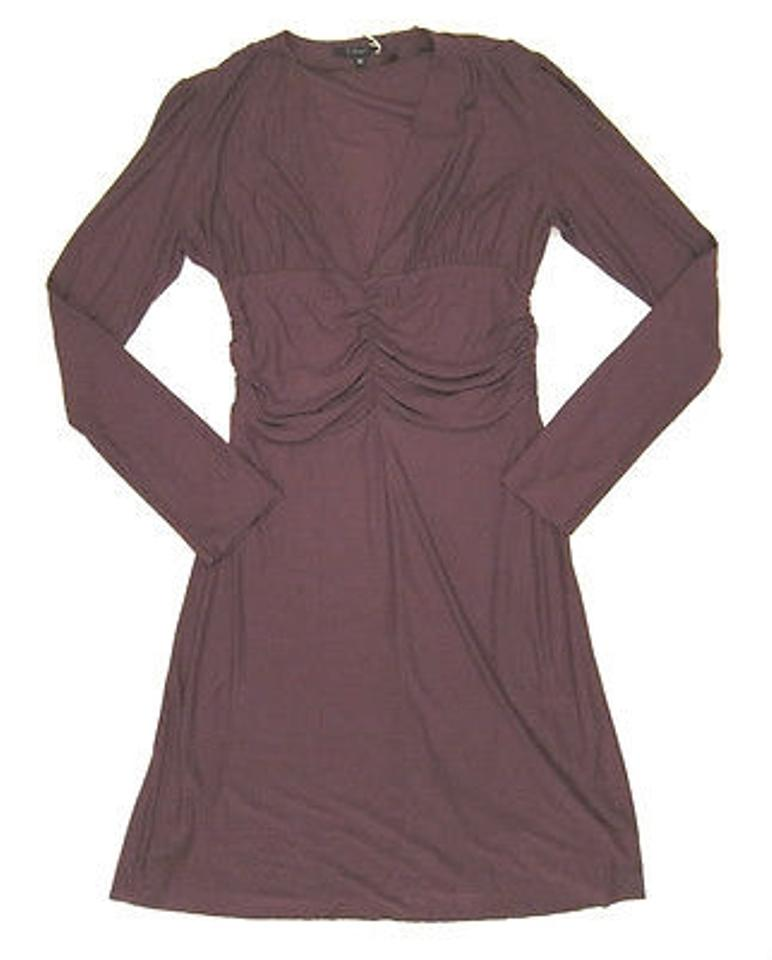 9eb82faa T-bags Long Sleeve V Neck Dress With A Bunched Waist In Wine Bordeaux