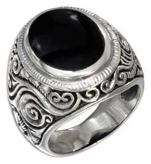 unknown Sterling Silver Mens Oval tapered Scrolled Floral Band Ring
