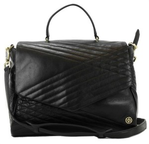 Tory Burch 797 Quilted Lambskin Satchel in Black