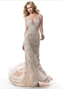 "Maggie Sottero Champagne W/Silver Gold Accent ""Gianna Marie"" Feminine Wedding Dress Size 8 (M)"