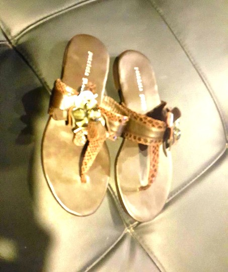 Patricia Green Brown with Floral Motif Sandals