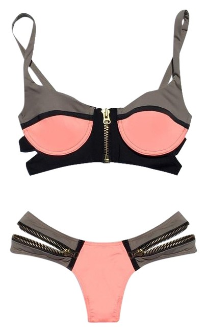 Item - Gray/Pink 'endless Summer' Zipper Bikini Set Size 4 (S)
