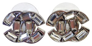Chanel Chanel #6868 CC baguette Clear crystals mini Silver stud earrings