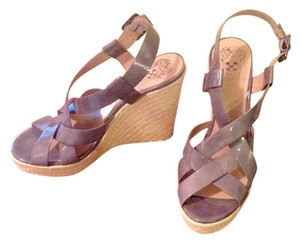 Vince Camuto Leather Straps Grey Wedges