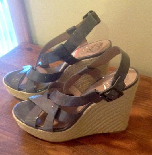Vince Camuto Leather Straps Adjustable Grey Wedges