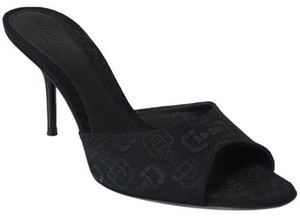 Gucci 295093 Womens Horsebit Jacquard Slide Black Sandals