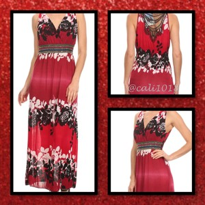 Red and black Maxi Dress by Other Maxi Plus Size V-neck Crochet