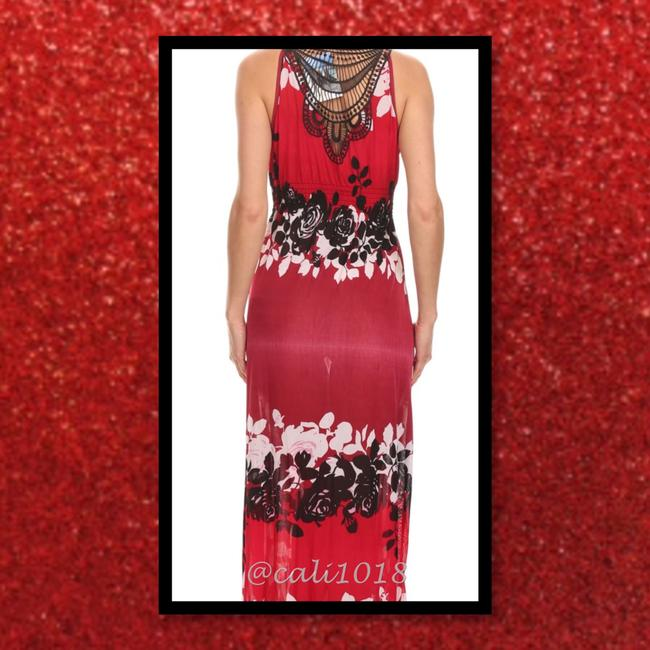 Red and black Maxi Dress by Other Sundress Maxi Plus Size V-neck Crochet