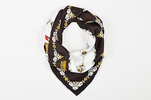 Gianfranco Ferre Gianfranco Ferre Brown White Silk Printed Chatelaines Square Scarf