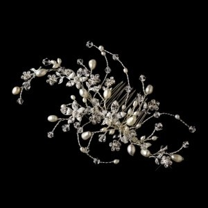 Elegance by Carbonneau Silver Pearl and Crystal Comb Vine Hair Accessory