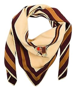 Gucci Vintage Gucci Brown Tan Red Woven Silk Striped Saddle Print Oversized Scarf