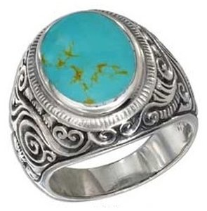 unknown Sterling Silver Mens Scroll Design Turquoise Ring