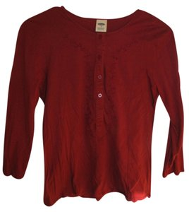 Old Navy Embroidered Button Down Shirt Red