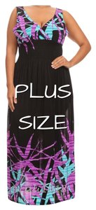 Purple and black Maxi Dress by Other Plus Size Curvy Full Length V-neck