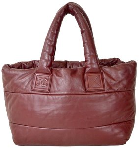 Chanel Coco Cocoon Burgundy Lambskin Tote in Red