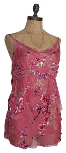 Anthropologie Blouse Hazel Embellished Floral Silk Chiffon Top PINK