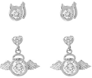 Betsey Johnson Betsey Johnson Mini CZ Angel & Devil Stud Earrings Set NWT $35