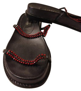 Stuart Weitzman Leather Chain Straps Wedge Red Sandals