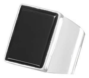 unknown Sterling Silver Rectangular Black Onyx Ring