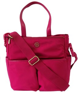 Tory Burch Nylon Leather Carnation Red (Fuchsia) Diaper Bag
