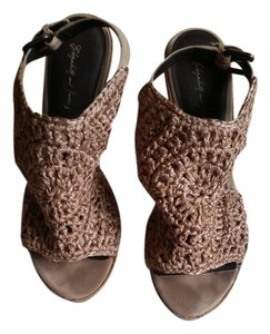 Elizabeth & James nude crocheted silk Wedges