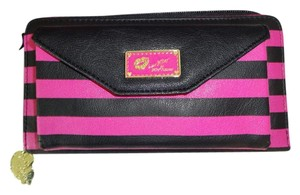 Betsey Johnson LUV BETSEY WALLET ON A STRING/BLACK/PINK CELL PHONE POCKET /gift boxed