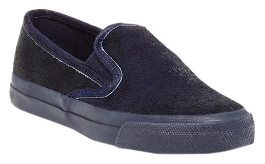 Sperry Calf Hair Leather Slip On Genuine Navy Flats