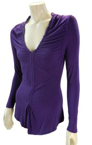 Design History Slinky Stretchy Ruched T Shirt Purple