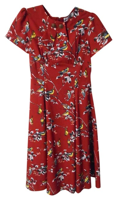 Item - Red 1950s Style Carmine Birdy Mid-length Cocktail Dress Size 4 (S)